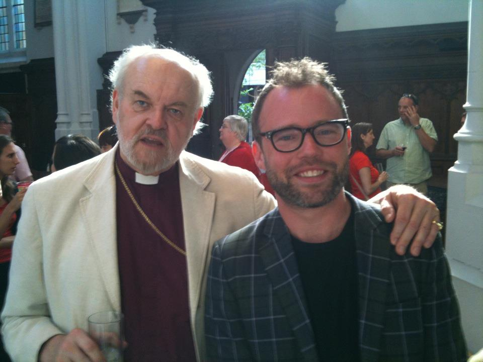 Bishop Chartres and some fluffy-haired guy
